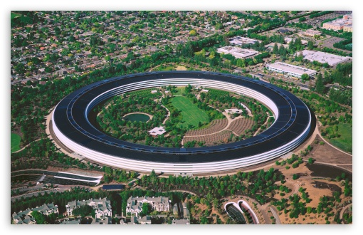 Download Apple Park, Cupertino, California, Aerial View UltraHD Wallpaper