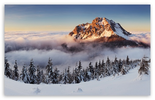 Download Mountain Peak Above The Clouds UltraHD Wallpaper