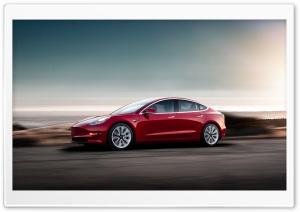 Red Tesla Model 3 Electric...
