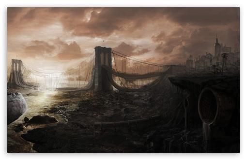 Download Brooklyn Bridge Ruins UltraHD Wallpaper