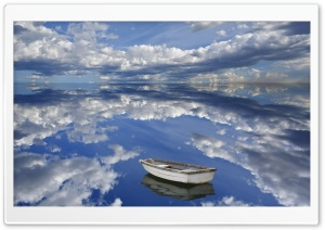Boat And Clouds Reflecting On...