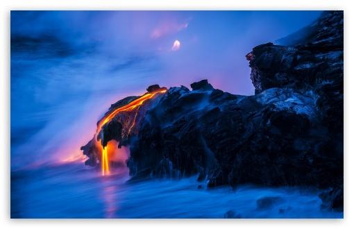 Download Lava Ocean Smoke UltraHD Wallpaper