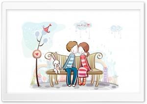 Sweet Couple On Bench