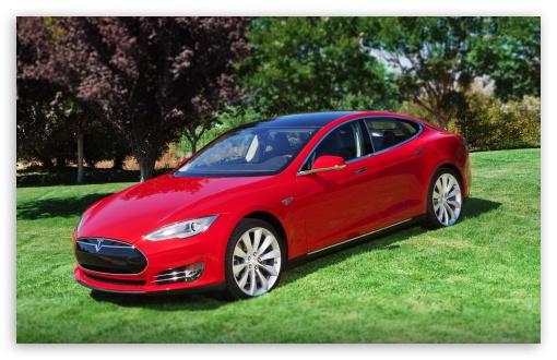 Download Red Tesla Model S2 UltraHD Wallpaper