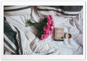 Coffee, Bed, Book, Peonies...