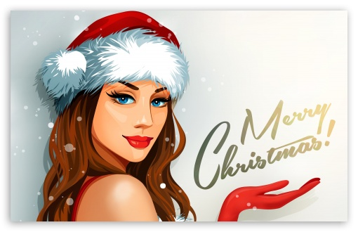 Download Christmas Santa Girl UltraHD Wallpaper