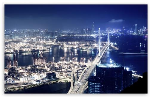 Download Panoramic View Of Hong Kong At Night UltraHD Wallpaper
