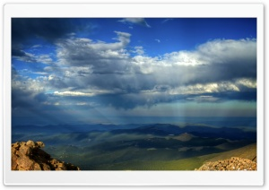 Crepuscular Rays Over Mountains
