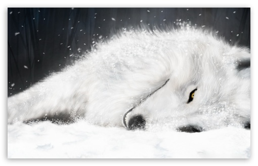 Download White Fantasy Wolf UltraHD Wallpaper