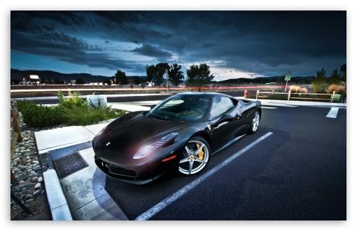 Download Black Ferrari UltraHD Wallpaper
