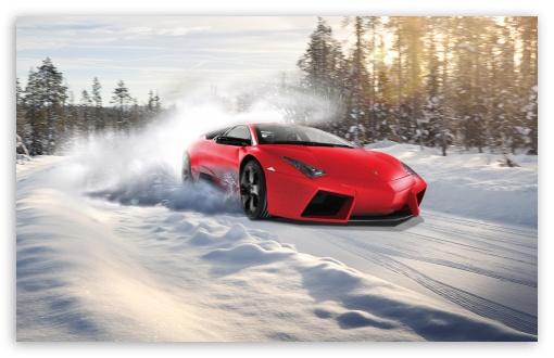 Download Lamborghini Drifting In Snow UltraHD Wallpaper