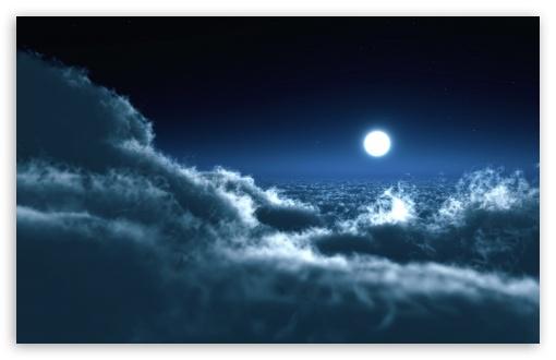 Download Moon Above Clouds UltraHD Wallpaper