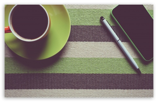 Download Cup of Coffee, Pen, Smartphone UltraHD Wallpaper