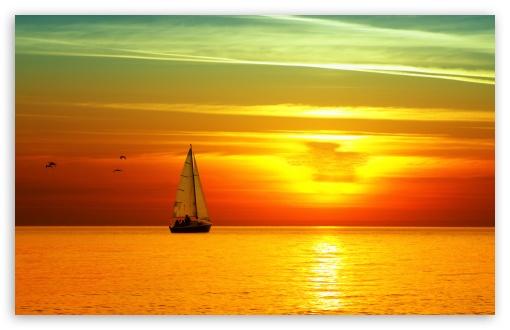 Download Sailing Boat At Sunset UltraHD Wallpaper