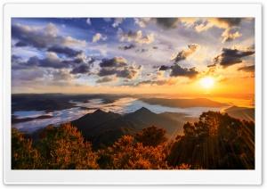 Sun Shining Over Mountains