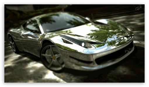 Download Ferrari 458 Italia Chrome UltraHD Wallpaper