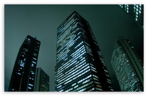 Download City Skyscrapers Night UltraHD Wallpaper