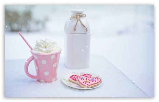 Download Valentine's Day Hot Chocolate and Heart... UltraHD Wallpaper