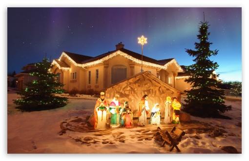 Download Outdoor Christmas Nativity Scene UltraHD Wallpaper