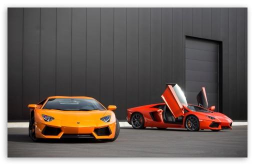 Download Red and Orange Lamborghini Aventador UltraHD Wallpaper