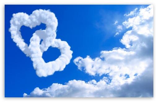 Download Heart Shaped Clouds UltraHD Wallpaper