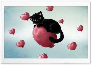 Cute Kitty Floating On Heart...