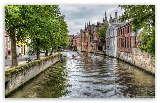 Download The Groenerei Canal in Bruges Belgium UltraHD Wallpaper
