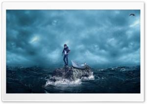 Man, Cat, Sea Storm, Paper Boat