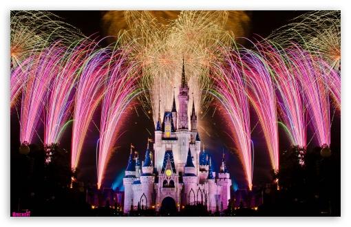 Download Fireworks Over Cinderella Castle UltraHD Wallpaper