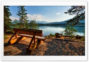 Empty Bench Near The Lake