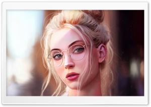 Pretty Girl Blonde Hair Painting