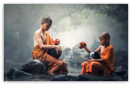 Download Children Buddhist Monks UltraHD Wallpaper