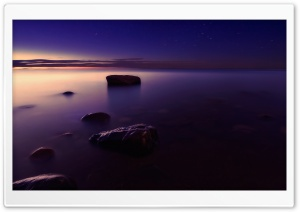 Foggy Shore At Sunset