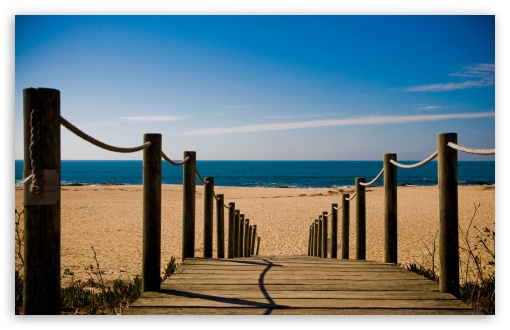 Download Bridge Towards The Beach UltraHD Wallpaper
