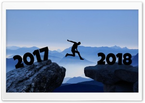 Man Jumping from 2017 to 2018
