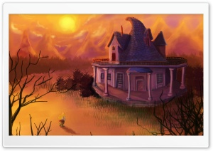 Forest House Painting