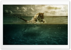 Tiger Leap In The Water