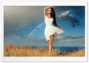 Happy Girl in White Dress