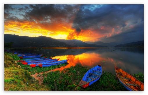 Download Boats, Lake Scenery UltraHD Wallpaper