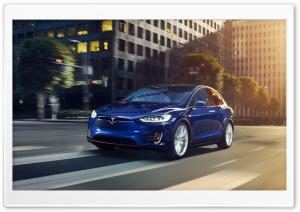 Blue Tesla Model X SUV...