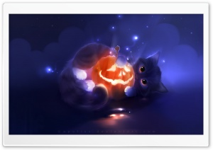 Kitty Playing with a Pumpkin