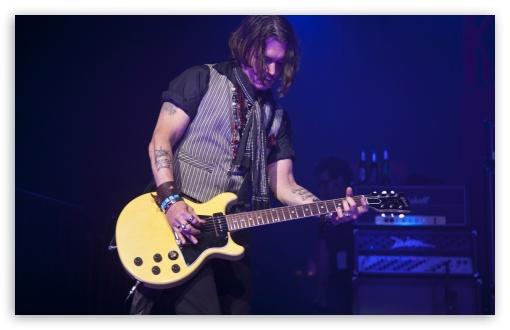 Download Johnny Depp Playing Guitar UltraHD Wallpaper