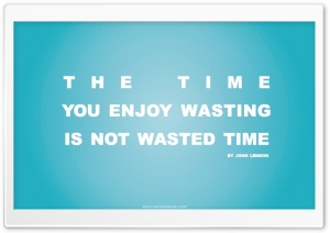 Time You Enjoy Wasting is Not...