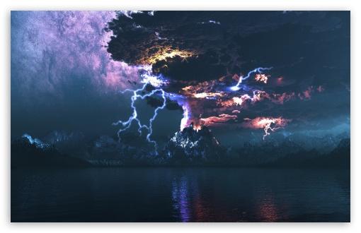 Download Volcano Eruption Lightning UltraHD Wallpaper