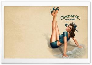 Seaside Invitation Retro Artwork