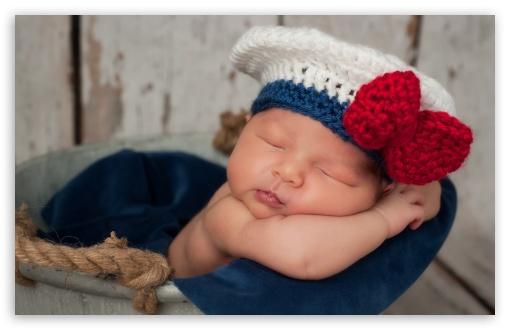Download Newborn Baby Sailor UltraHD Wallpaper