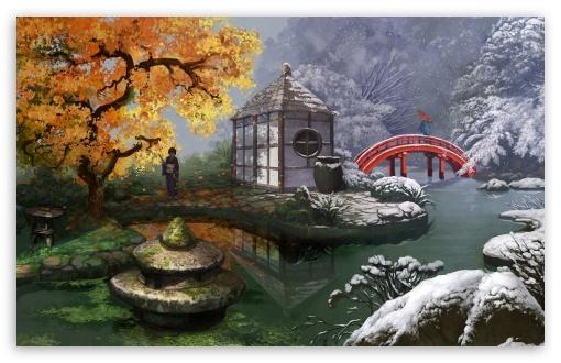 Download Japanese Garden Painting UltraHD Wallpaper