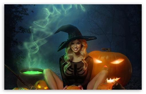 Download Beautiful Witch Halloween UltraHD Wallpaper