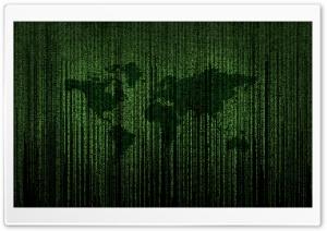 Green Matrix Code World Map