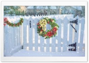Christmas Wreath On White Fence